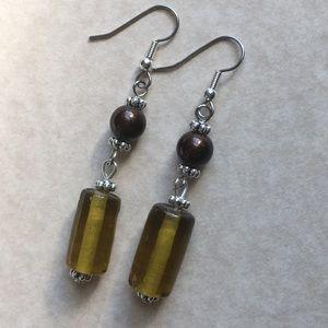 Jewelry - 4/$25 Brown Earrings Glass Beaded Silver Tone Long